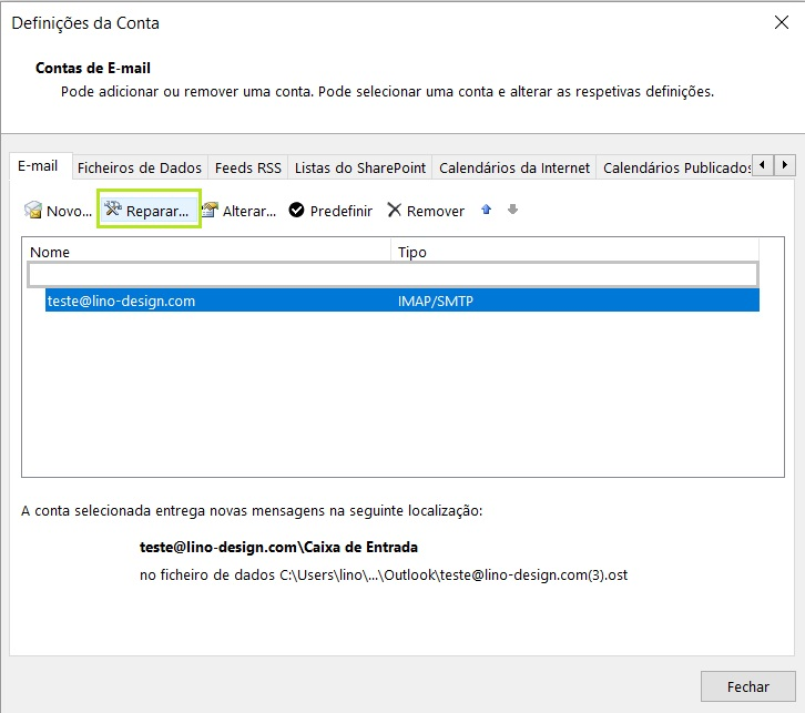 outlook email profissional