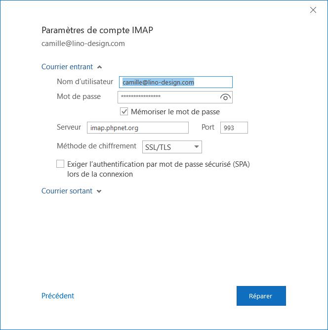 Outlook configuration serveur entrant