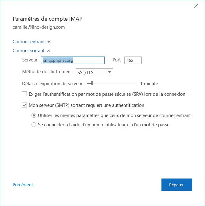 Outlook configuration serveur sortant